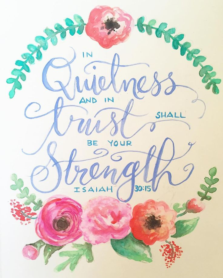 "Sunday afternoons have become one of my favorite times for #biblejournaling & #watercolorpainting so I took advantage of the calm before game time today & made my first entry in my brand new art journal.  I absolutely loved hearing from @lysaterkeurst at @crosspoint_tv this morning. This verse from Isaiah stood out to me especially since I have just recently learned to enjoy the quietness with my God. ----- ""In quietness and in trust shall be your strength."" Isaiah 30:15…"
