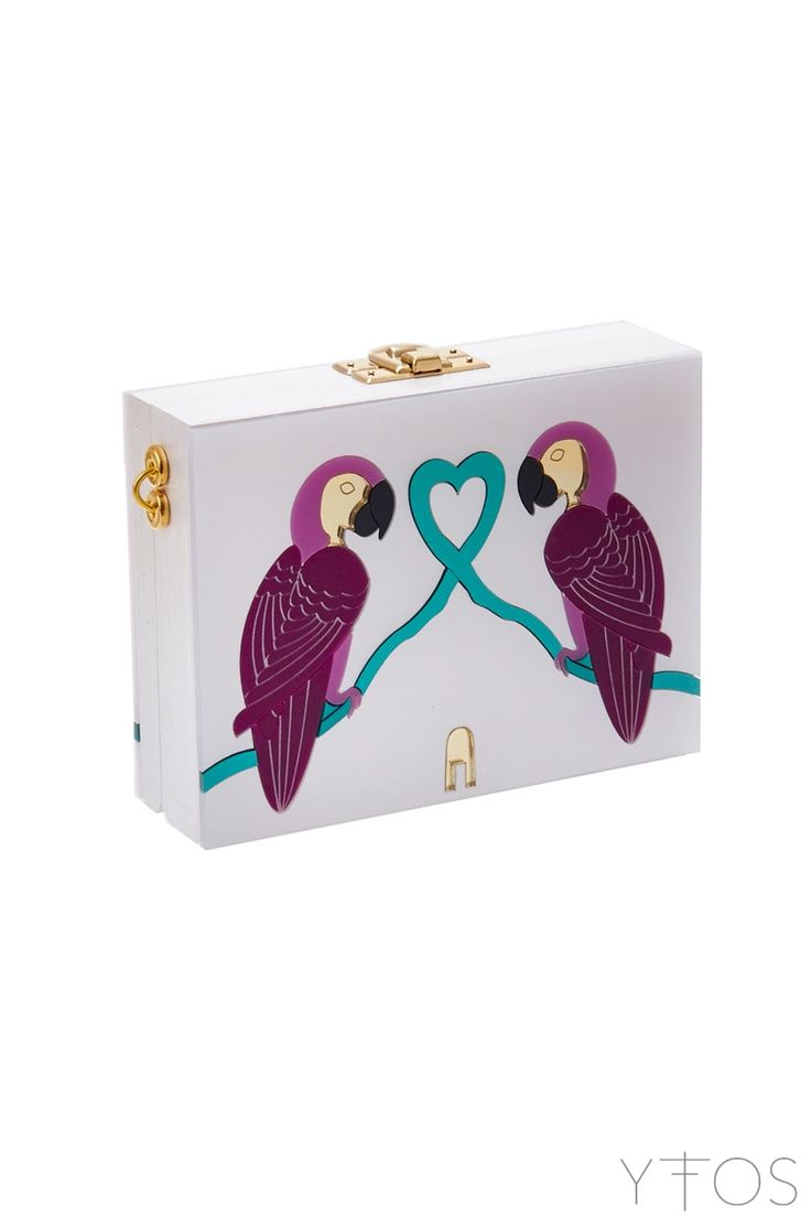 'Parrots in Love' White Clutch Bag
