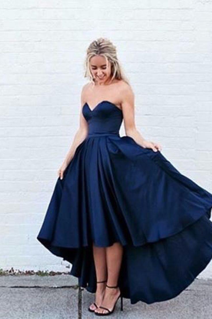 High low prom dress, prom dress 2017, cute dark blue satin prom dress for teens