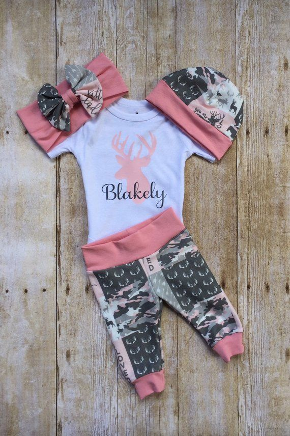 794ae1c8cd314 Pink Camo Deer Coming Home Outfit, Personalized Girls Baby Set, Custom  Newborn Hospital, Baby Shower Gift, Hunting Country Girl Camouflage |  Products | Baby ...