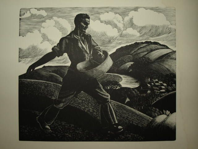 The Farmer's Year,  April (Wood cut), Sowing,  Clare Leighton 1933