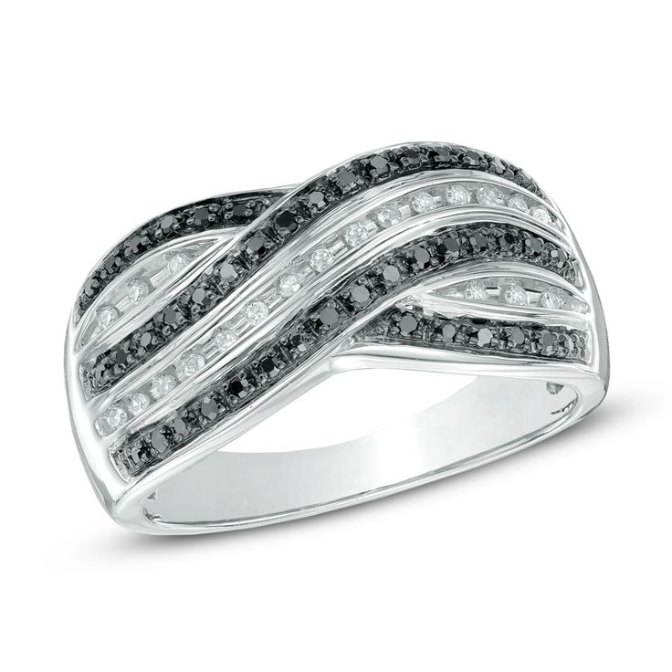 Zales 1/8 CT. T.w. Diamond Quilt Pattern Ring in Sterling Silver SMfOMilSwp