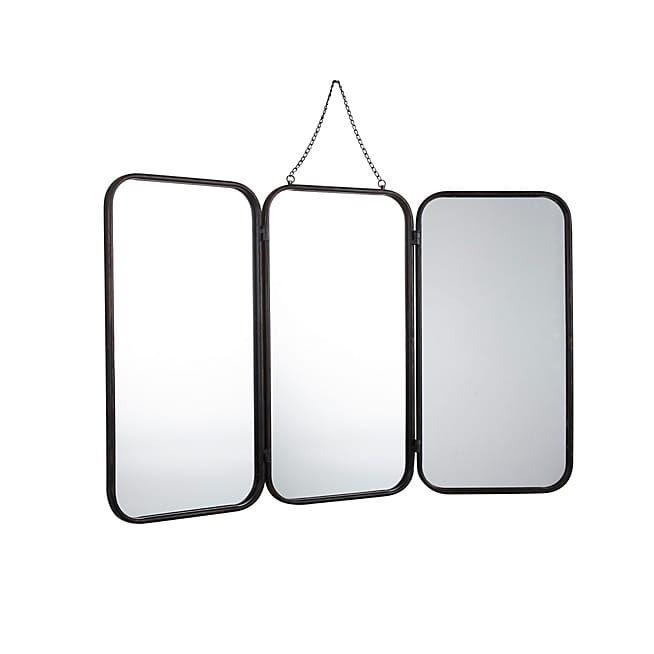 todd miroir de barbier rectangulaire en m u00e9tal noir 93x109