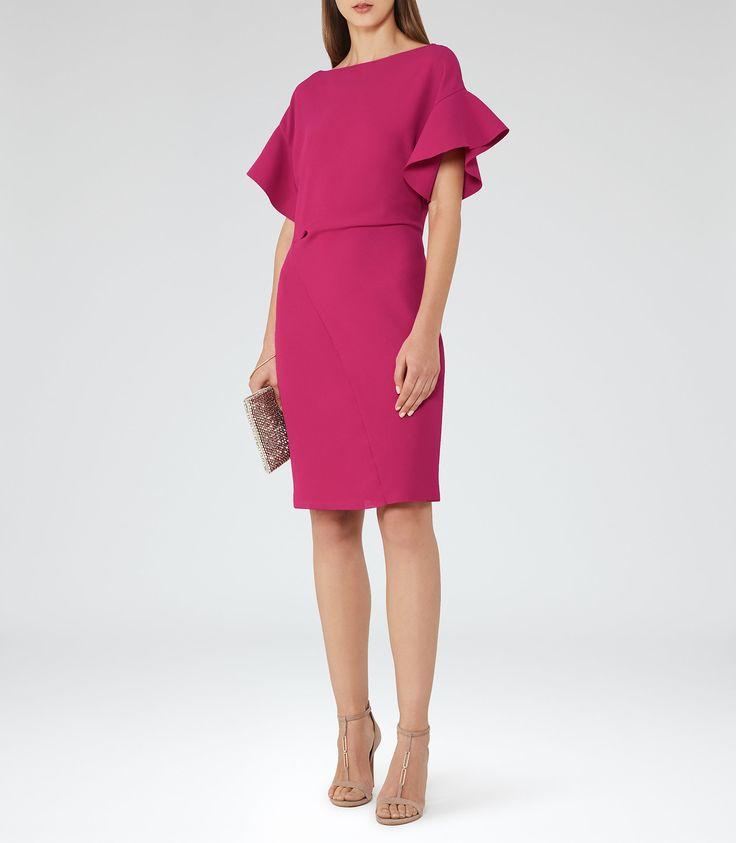 Manila Fuchsia Peplum-Sleeve Dress - REISS