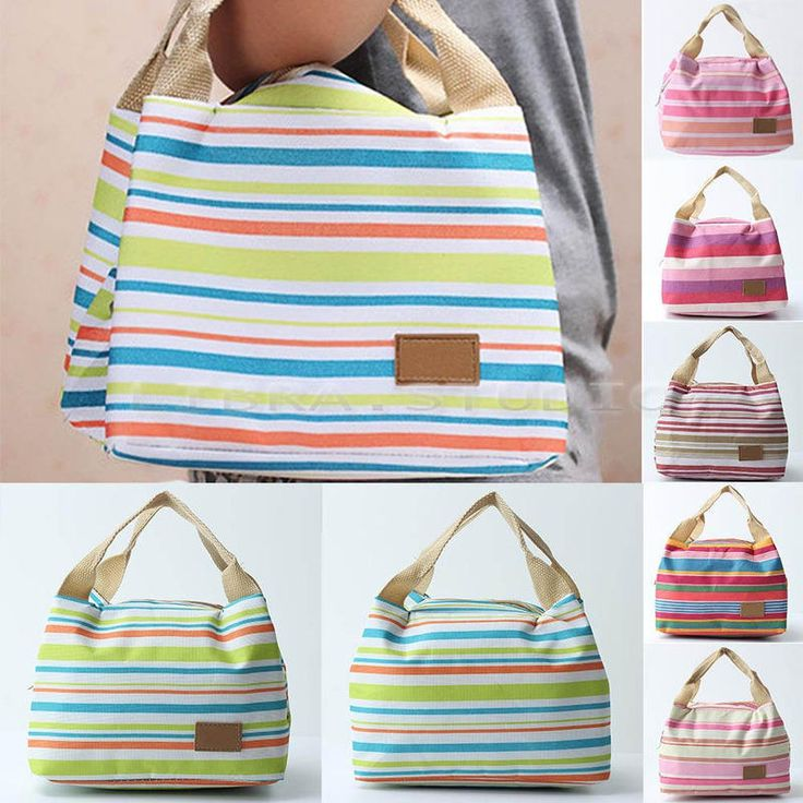 Portable Striped Thermal Insulated Lunch Box Picnic Zipper Food Storage Bags