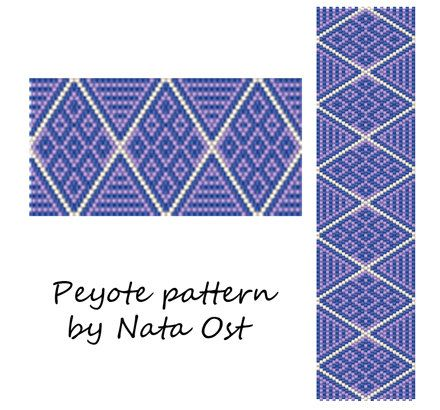 """Instant Download Beading Pattern Peyote Stitch Bracelet """"Clear Sky"""" 3 colors"""