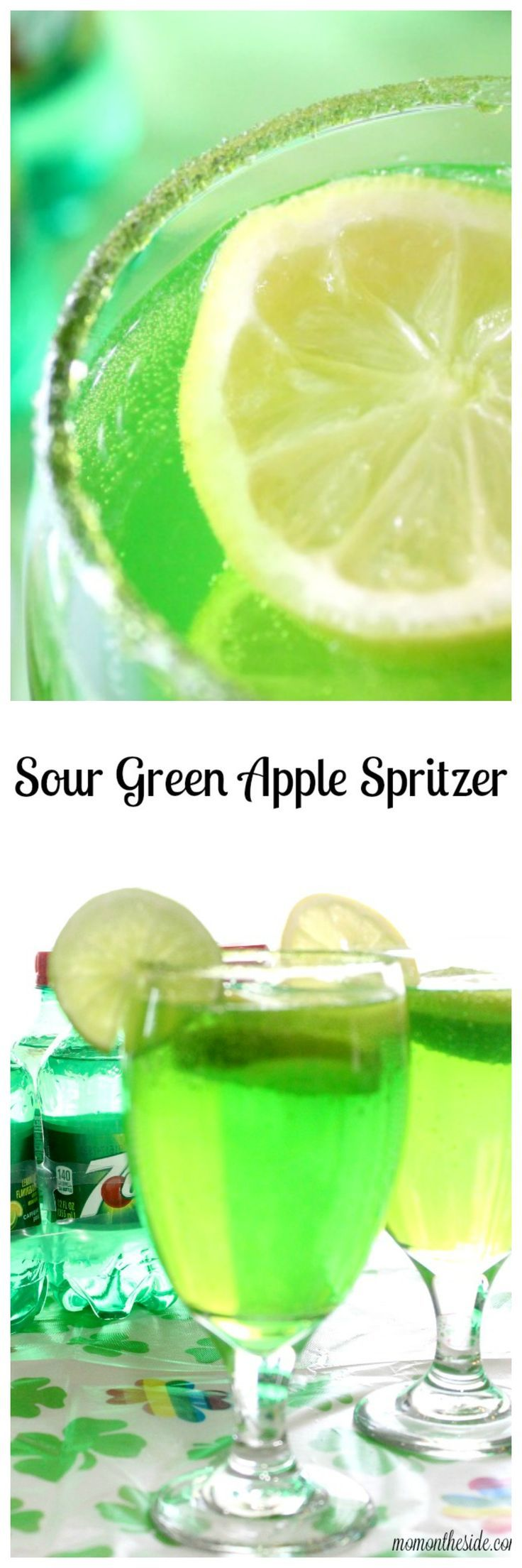 Sour Green Apple Spritzer is a drink for kids and adults to enjoy on St. Patrick's Day! via /momontheside/ #JustAdd7UP #ad