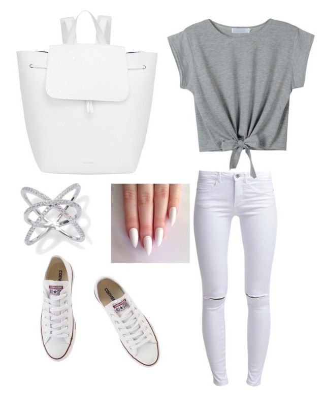 """White white white"" by fatmacelen on Polyvore featuring ONLY, Converse and Mansur Gavriel"