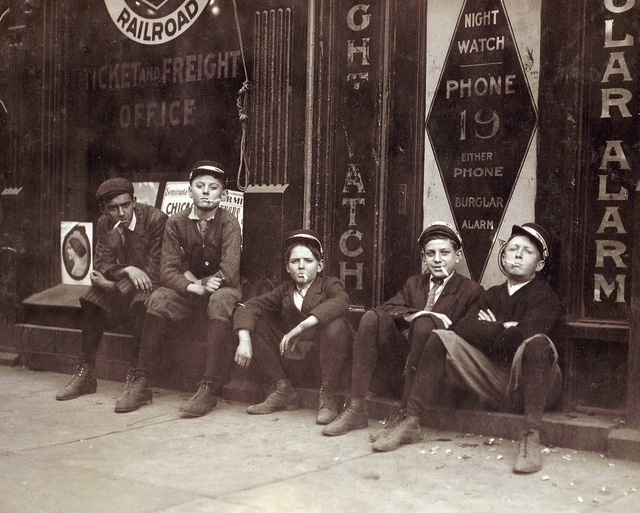 A.D.T. Boys, 'They all smokes,' Birmingham, Alabama, by Lewis Wickes Hine 1910
