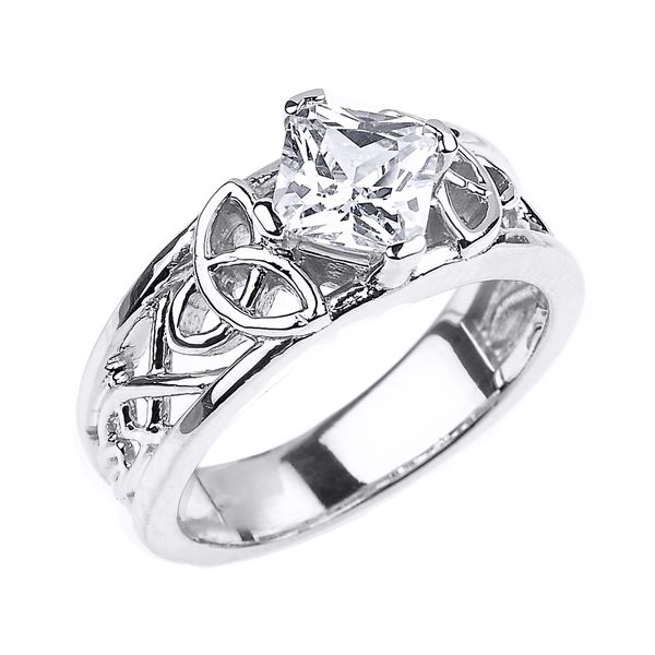 White Gold Celtic Knot Princess Cut CZ Engagement Ring