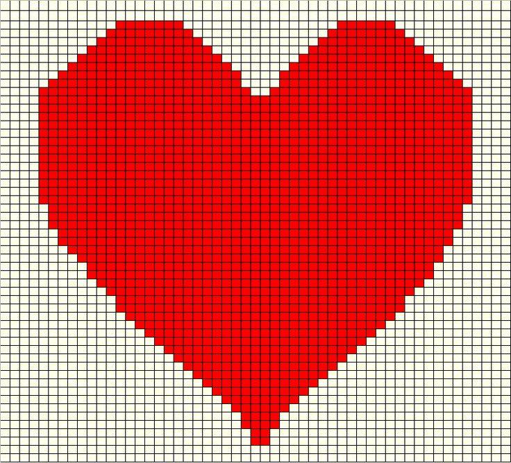 Valentine Heart Pillow Graph Crochet Hearts Knit