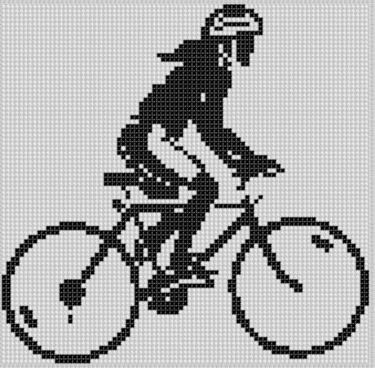 Mountain Bike Girl Cross Stitch Pattern