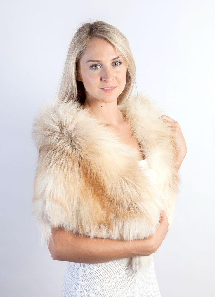 Fascinating Platinum Fire Gold fox fur stole. Amifur.com