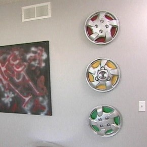 Cool stop light hub cap idea!  Boy's Race-Car Bedroom Theme Design : Boy's Racing Bedroom – Hubcaps Decoration