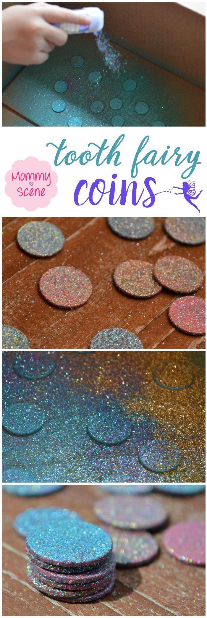 Glittery DIY tooth fairy coins kids' craft