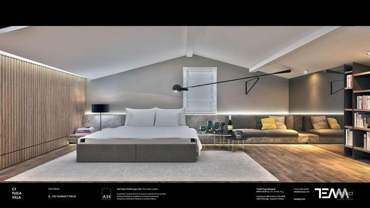 CT Villa iç mimari projemiz için hazırlanan çatı katı misafir yatak odası tasarımı. Interior design project for CT House penthouse quest bedroom design.