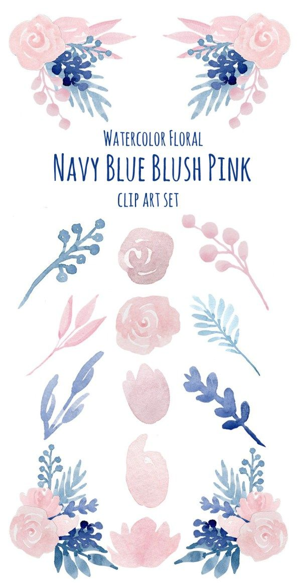 Watercolor Flower Navy Blue Blush Pink Floral Clip Art In 2020