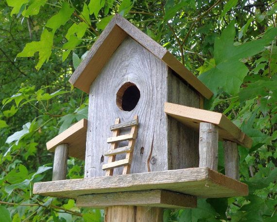 Rustic Reclaimed Cedar Birdhouse Barn by SwampwoodCreations