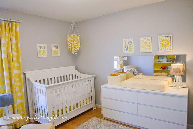 [Decoração de quarto] Perfect Home: Quarto bebé tema nuvens: amarelo e cinza || Clud themed nursery, yellow and grey