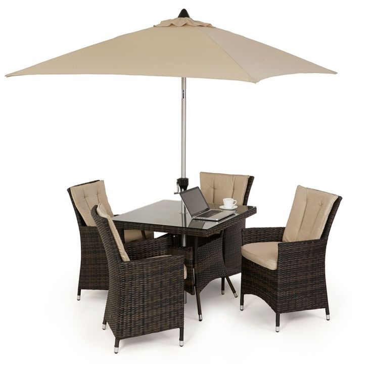 The 4 seat LA square garden set features 4 LA highback chairs with thick padded back and seat cushions for a truly comfortable dining experience. Handwoven in synthetic rattan and available in Mixed Brown or Mixed Grey, Maze Rattan's LA range is a best seller. What are you waiting for...?