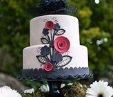 black, white & red wedding cake