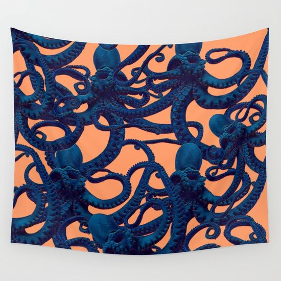 Ultron_tentacles Wall Tapestry. #graphic-design #digital #squid #tentacle #octopus #sealife #ocean #sea #print #pattern #octopusart #tentacleart #blue #orange #electric #decor #wallart #gothic #alien #science