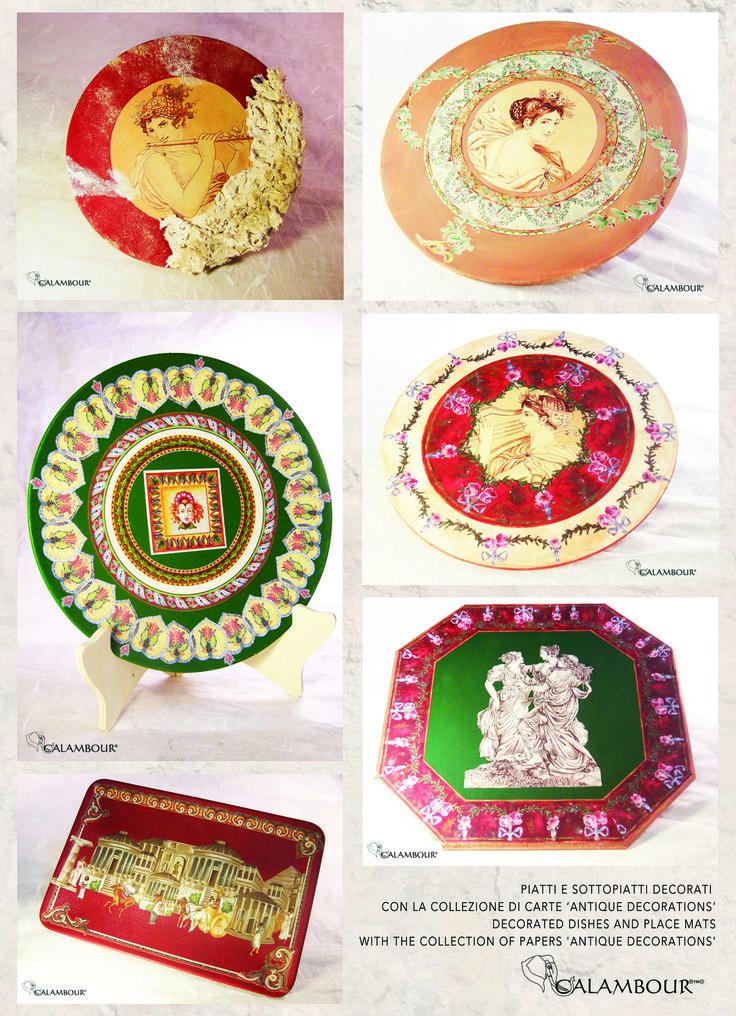Oggi vi presentiamo questi piatti e sottopiatti decorati da noi con carte Calambour della collezione Antique (codice AD) Today we present you these decorated dishes and place mats with Calambour's Antique Collection (code AD).