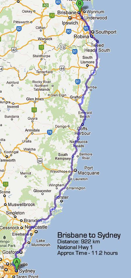 Sydney to Brisbane Road Map - via Pacific Highway Total Kilometres = 922 Approx Travel Time = 12 hrs