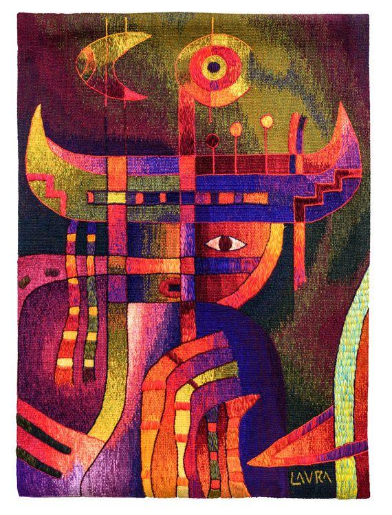 """Tejidas a mano tapiz peruano, """"chamán visiones"""", Vertical, pared que cuelga, fibra de Alpaca, tapices de Maximo Laura, Textiles hechos a mano, Perú"""