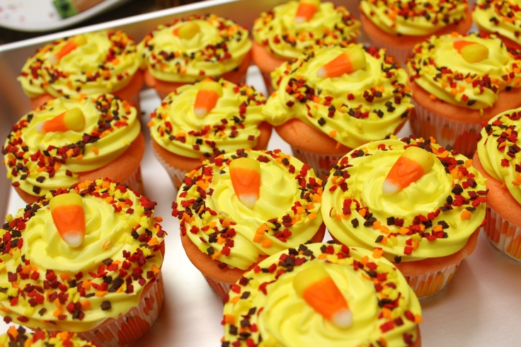 Candy Corn Cupcakes Use a normal white cake mix, prepared with milk ...