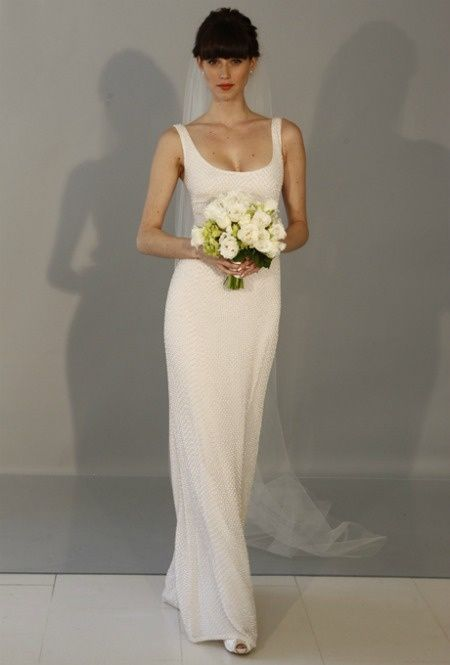 Sleeveless Dotted Tulle Sheath With Square Neckline Theia Wedding Dress Spring 2013