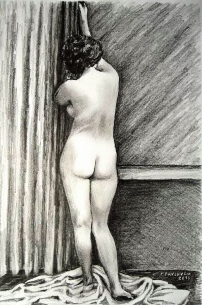 Peter Pavluvcik - naked female figure, drawing, pencil 3.