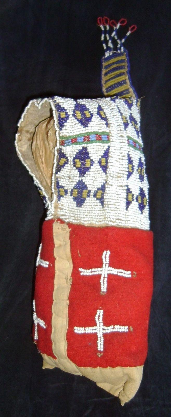 Lakota miniature beaded cradle with red trade cloth; circa 1880