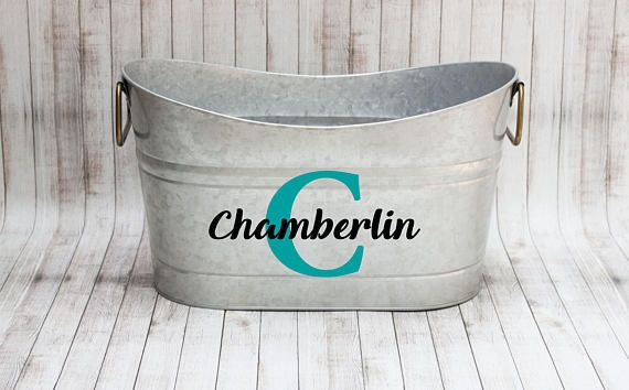 These galvanized tubs make a great outdoor planter, or a drink tub for your next outdoor bbq this summer! These also make a great housewarming gift or bridal shower gift. You can choose from two different personalization options along with your choice of 18 colors! Each tub measures 15.5 inches wide, 9 inches deep and 9 inches tall.     Check out my Etsy shop for more unique home decor items!