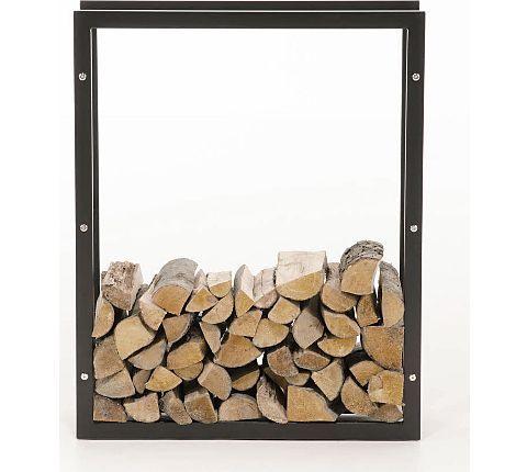 Exklusiver Kaminholzständer KERI aus matt schwarzem Metall, bis zu 8 Größen wählbar | GartenXXL.de