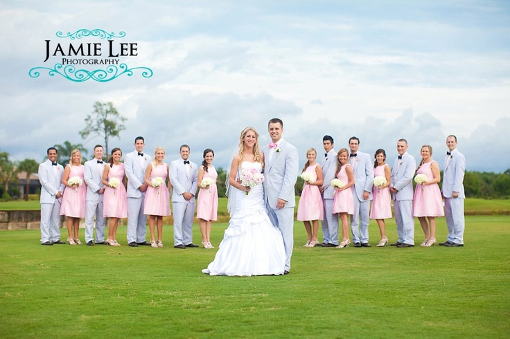 Pink and Seersucker suits at a preppy southern wedding - Lance is it you or Brent that always wanted a Seersucker suit?
