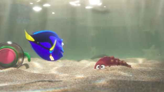 Dory appears to be stuck in a fish tank at one point, just like Nemo was in Finding Nemo.