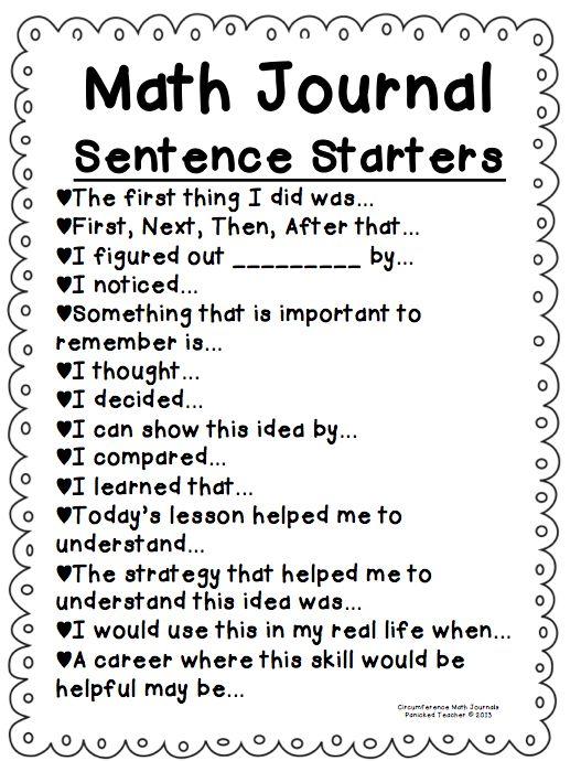 Math journaling sentence starters...Great idea!