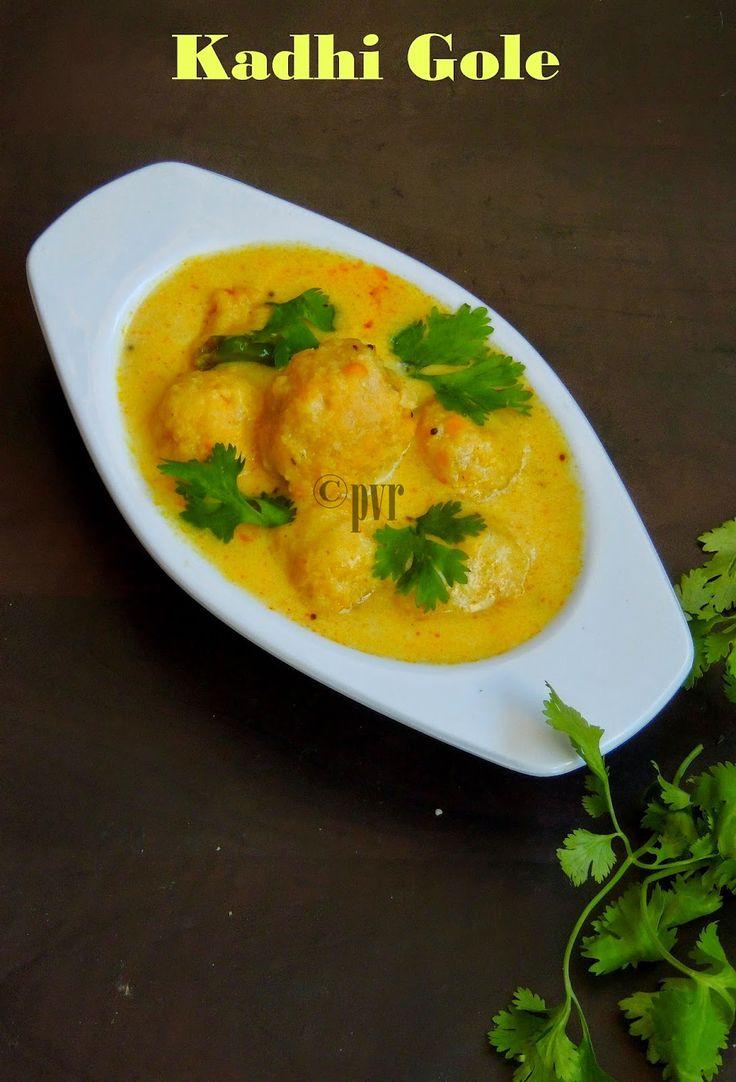 Priya's Versatile Recipes: Kadhi Gole/Maharashtrian Channadal Balls in Kadhi