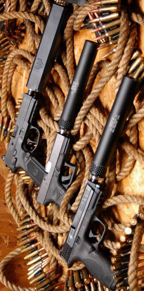 Silence is a virtue. pistol, silencer, guns, weapons, self defense, protection, 2nd amendment, America, firearms, munitions #guns #weapons