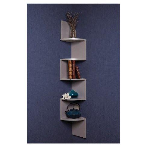 48 5 X 7 7 Zigzag Corner Shelf Gray Danya B Wall Mounted Shelves Mounted Shelves Corner Wall Shelves