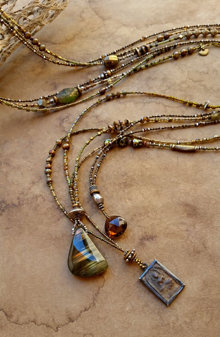 Beaded Necklace Set + Desert Greens with Labradorite, Buddha, Whiskey Quartz Pendants + Extra Long Beaded Necklaces by DesertTalismans on Etsy