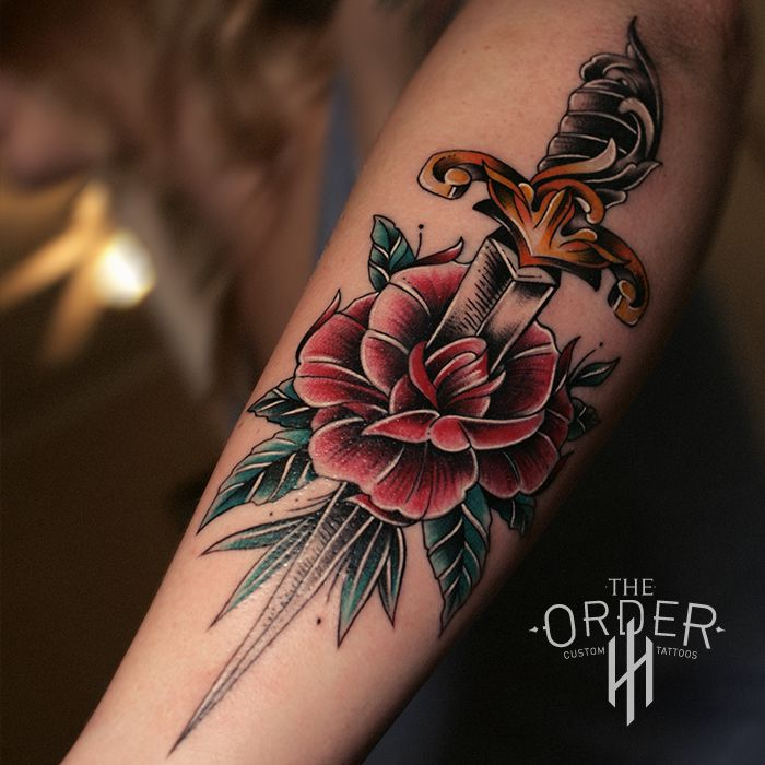 Neo Old School Rose And Dagger Tattoo From The Order