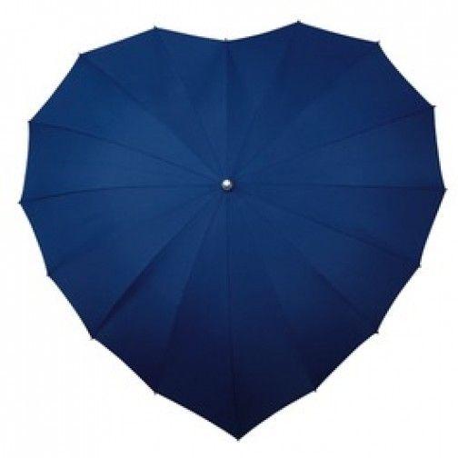 Hartvormige donker blauwe paraplu