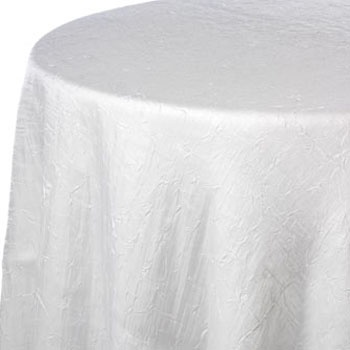 Layer white crush iridescence with the pink-lime ruching to create a peek-a-boo effect with the linens.