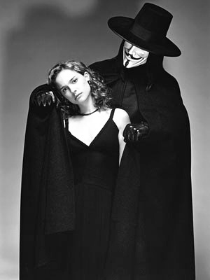 V for Vendetta. Natalie Portman & V (in Guy Fawkes costume)