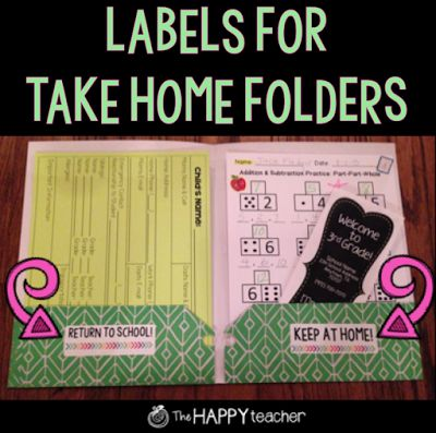 Stick these {free} labels in your students' take home / homework folders so there is no confusion on which papers should be returned to school and which papers should be kept at home!