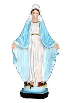 Madonna Miracolosa altezza cm. 85 in resina vuota disponibile anche in vetroresina dipinta con colori acrilici e finiture ad olio disponibile anche con occhi di vetro  http://www.ovunqueproteggimi.com/collezione-statue/madonne/miracolosa/