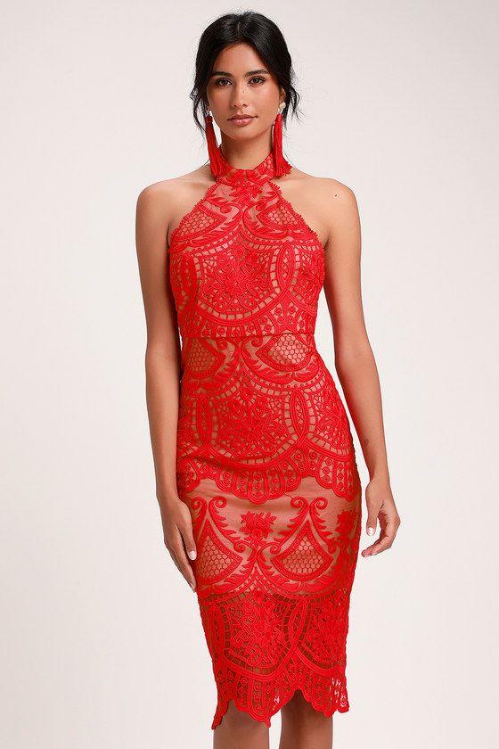 82d59cc430b9 CELEBRATE LIFE RED LACE HALTER MIDI DRESS #romantic #valentines #day #dress  #date #night #love #fashion #dresses