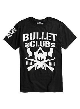 "Get in the ring! New Japan Pro-Wrestling's Bullet Club T-shirts are here!<br><br>This black T-shirt from New Japan's Bullet Club wrestling stable features the ""Bone Soldier"" logo design on the front and on the right sleeve. Back features a tag print of the NJPW's ""King of Sports"" logo riddled with bullet holes.<br><ul><li style=""list-style-position: inside !important; list-style-type: disc !important"">100% cotton<..."